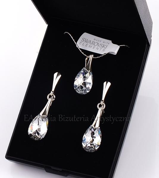 b521ac1e2ec082 Komplet biżuterii z kryształami Swarovskiego® migdał 16 mm srebro 925