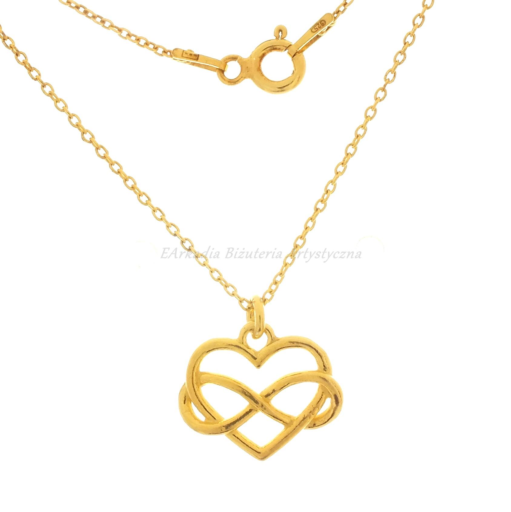 05ffc58832ea20 Serce z infinity naszyjnik ze srebra 925 pokrytego 24 k. złotem
