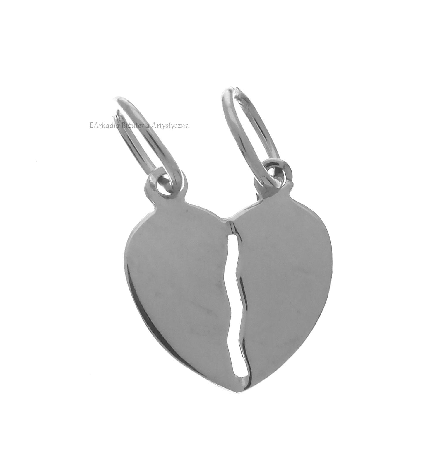 4bddded04372ed Wisiorek srebrny 925 serce łamane, podwójne, dla par